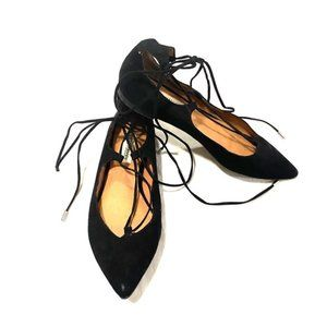 Steve Madden Lecrew Black Lace Up Flats Size 6.5